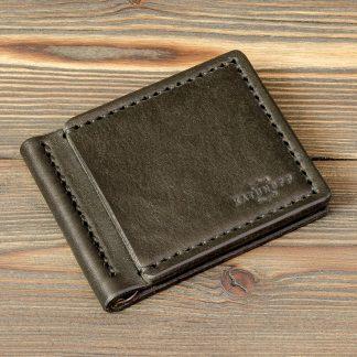 кожаный зажим для денег, черный минимализм, Katunoff