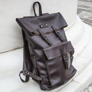 кожаный городской рюкзак ручной работы темно-коричневый