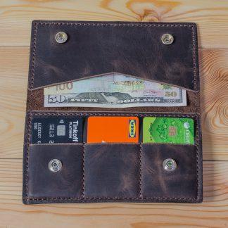 Кожаный кошелек ручной работы Лонгер темно-коричневый
