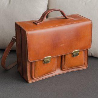 большой портфель ручной работы из натуральной кожи коичневый