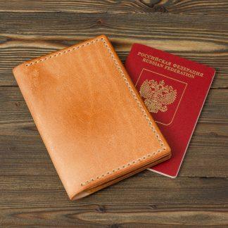 Обложка для паспорта (светло-коричневый цвет, натуральная кожа, полностью ручная работа)