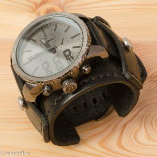 Брутальный ремешок для часов Diesel, натуральная кожа, ручная работа