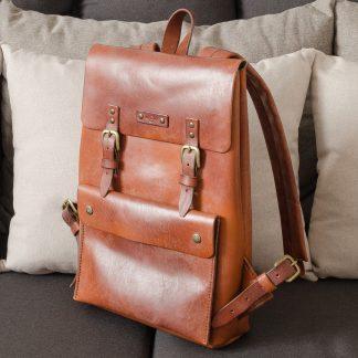 Крафтовый рюкзак ручная работа коричневый