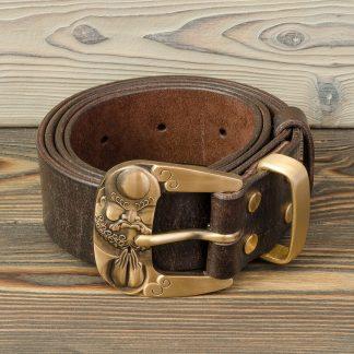 кожаный ремень ручной работы, коричневый, латунная пряжка и болты, Katunoff