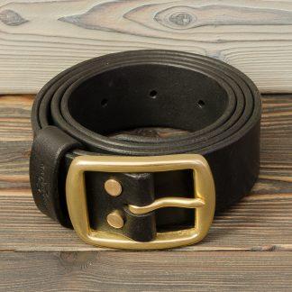 кожаный ремень ручной работы, чёрный, пряжка и болты из латуни, Katunoff