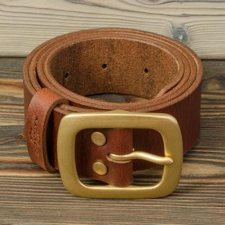 ремень для джинсов ручной работы, коричневый, натуральная кожа, Katunoff