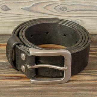 крафтовый ремень 40 мм с пряжкой из нержавейки (матовая), черный, ручная работа, натуральная кожа 4 мм