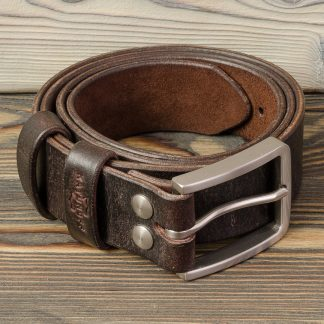 кожаный ремень ручной работы, коричневый, пряжка нержавеющая сталь, болты нержавеющая сталь, Katunoff