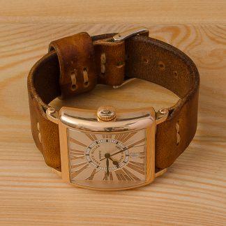 Katunoff кожаный ремешок для часов Franck Muller Master Square 6000 H SC DT ручная работа, коричневый