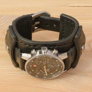 Katunoff широкий кожаный ремешок для часов swiss military 17700, черный