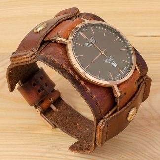 широкий ремешок для часов Boccia Titanum 3589-05, коричневая натуральная кожа, винты из нержавейки