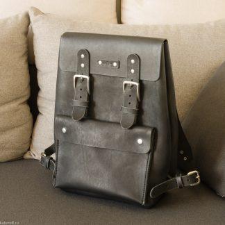 Katunoff черный кожаный рюкзак ручной работы, 43-30-15, 100% хендмейд, натуральная кожа 4 мм, литые пряжки из нержавеющей стали
