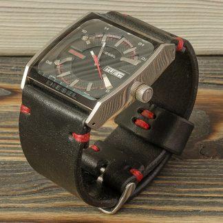 кожаный ремешок для часов ручной работы, черный, натуральная кожа, красная вощеная нить