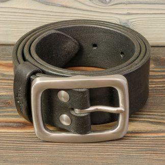 ремень для джинсов ручной работы, черный, натуральная кожа, Katunoff
