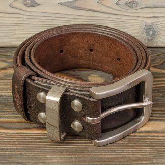 кожаный ремень коричневый ручная работа, болты и пряжка из нержавеющей стали, мужской, Katunoff