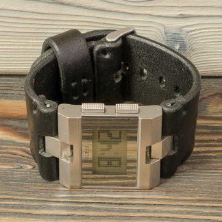 кожаный ремешок для часов, черный, ручная работа, кожа 4 мм, Katunoff