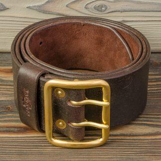 кожаный ремень коричневый ручная работа, заклекпки и пряжка из латуни, мужской, Katunoff