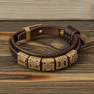кожаный браслет с латунными вставками скандинавской тематики