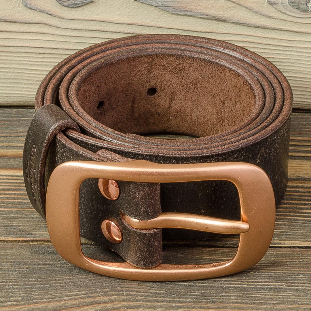 кожаный ремень с медной пряжкой 0630551f6b2db